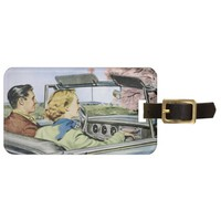 Luggage Tag with Vintage Couple Cruising The Car