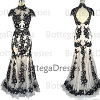 Mermaid High Neck Long Lace Black Evening Gown, Evening Dresses, Formal Gown Lace Black Prom Dresses