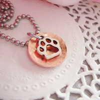 "Hammered And Domed Copper Necklace With Paw Charm 3/4"" 18mm"