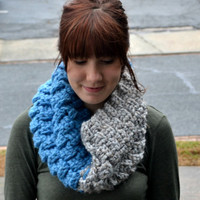 Blue and Grey Crocheted Cowl