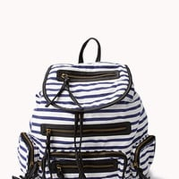 Striped Faux Leather-Trimmed Backpack