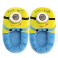 "Triline Despicable Me 3D Eyes Minions Two-eyed Minion 11"" Jorge Plush Slipper"