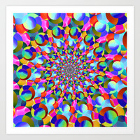Rainbow Spiral Fractal Art Art Print by Hippy Gift Shop