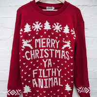 Merry Xmas Filthy Animal Jumper