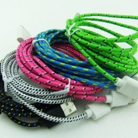 Lot 5pcs Ruggedized Braided Fabric Colorful 10ft 3m 3meters Extra Long 30pin USB 2.0 Charger Cable Cords for Iphone 4 4s Ipod Touch 4 Nano 6 Black White Hotpink Blue Green