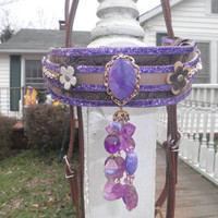 Horse Bridle Brow Band Covers Purple Passion