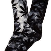 The Tie Dye Plantlife Crew Socks in Black
