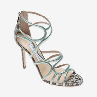 Jimmy Choo Snakeskin Sazerac Sandal: Green- Available In Store Only-TIME TO SHINE-CHIC THIS WEEK-What To Wear-Categories- IntermixOnline.com