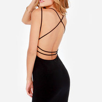 Be-All Trend-All Backless Black Midi Dress