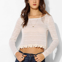 Pins And Needles Crochet-Trim Swing Tee - Urban Outfitters