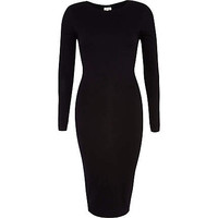 BLACK DOUBLE LAYER COLUMN DRESS