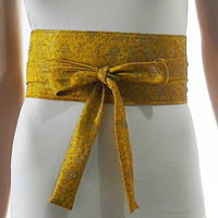 Gold Sash Belt Obi Waist Cincher - Brocade Sash Belt Obi Waist Cincher - Sashes for Weddings Evening Cocktail Formal Party