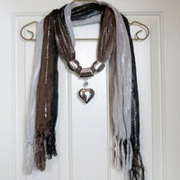 Black Brown and White Scarf With Heart Pendant S1200