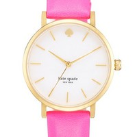 kate spade new york 'metro' round leather strap watch, 34mm (Save Now through 12/9) | Nordstrom
