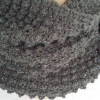 Crocheted Infinity Cowl Scarf Pewter with silvery flecks