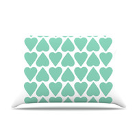 KESS InHouse Up and Down Hearts Fleece Pillow Case
