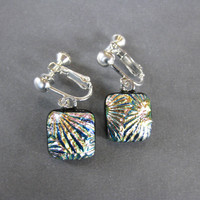 Multicolored Clip on Earings, Dichroic Clip Earrings, Fused Glass Jewelry, Multicolored Jewelry - Dawson - 1930 -1