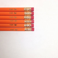 foxy fox orange set of 6 pencils
