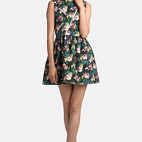 MSGM Zip Detail Rose Print Dress | Nordstrom
