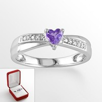 Sterling Silver Amethyst & Diamond Accent Crisscross Heart Ring