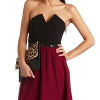 SWEETHEART COLOR BLOCK BELTED DRESS