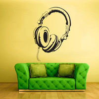 Wall Decal Vinyl Sticker Decals Headphones Audio Music z1423