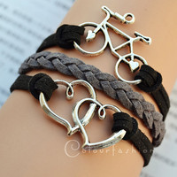Christmas Gift, Antique Silvery ''Bicycle'' ''Heart'' Charm, Black Gray Leather Cords, Silvery Jewelry, Charm Bracelet, Personalized