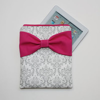 iPad Case - Android - Microsoft Tablet Sleeve - Gray and White Damask Hot Pink Bow - Padded