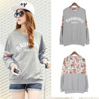 Girl Casual Floral Lace T-shirt Crewneck Blouse Tops Long Sleeves Hoody Pullover