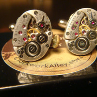 Steampunk Cuff Links Mens Accessories with Vintage Elgin Watch Movements (1489)