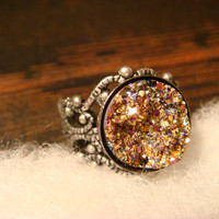 Victorian Style Gold and Pink Faux Druzy / Drusy Filigree Ring in Antique Silver - Adjustable (1491)
