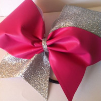 Pink and Silver Glitter Cheerleading Bow