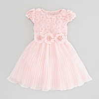 Floral-Chiffon Dress, Pink, Sizes 2-10Y