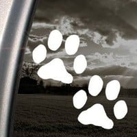 Dog Paw Prints White Sticker Decal Art Laptop Bumper Notebook White Sticker Decal