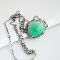 Chrysoprase Pendant Necklace, Chrysoprase Necklace, Diamond Necklace, Gemstone Necklace, Green Necklace