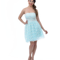 SALE! Mint Lace & Organza Strapless Short Homecoming Dress
