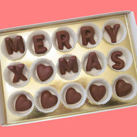 Merry Xmas Custom Name Large Milk Chocolate Letters
