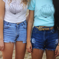 Graphic Crop Top What The Shell Tumblr Shirt