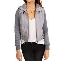 SALE-Heather Grey Hooded Bomber Jacket