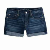 AEO Women's Rolled Hi-rise Denim Shortie (Dark Wash)
