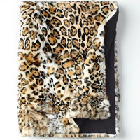 Adrienne Landau Jaguar-Print Fur Throw