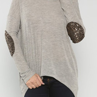 Sequin Elbow Top Heather Grey