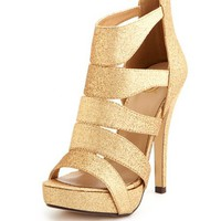 CAGED GLITTER ZIP-BACK HEEL
