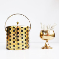 Vintage Mid Century Modern Barware Ice Bucket Brass and Black Weave Pattern Ice Bucket Hollywood Regency Holiday Entertaining Winter Decor