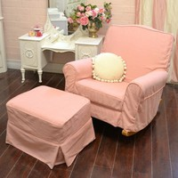 Sweet Chic Pink Linen Rocking Chair with Ottoman