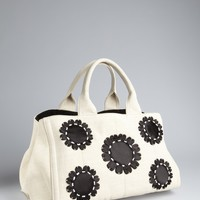 Cream And Black Canvas Flower Detail Tote