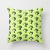 Funny Cartoon Broccoli Throw Pillow by Boriana Giormova