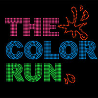 The Color Run Rhinestone Iron On Heat Transfer - DIY Iron On Rhinestone Transfer