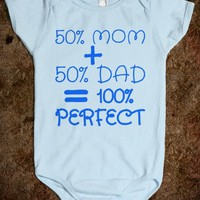 50% MOM + 50% DAD = 100% PERFECT BABY ONE PIECE CREEPER (BLUE 31218)