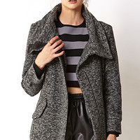 Marled Oversized Collar Coat